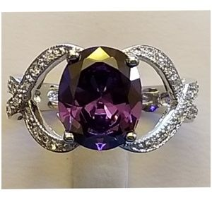 4ct Amethyst & White Sapphire Ring Size 7